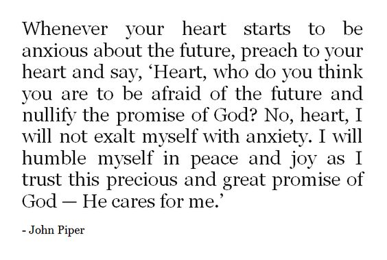 John Piper. Learning not to worry about the future and trust in God's will and peace-- but it is very hard at this stage in life! I can barely tell where I will be in 1 year!