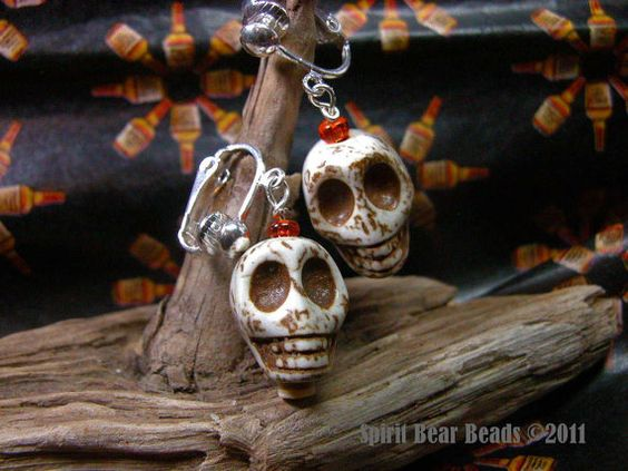 Halloween Dia de Muerta White Skull Large by spiritbearbeads, $8.00