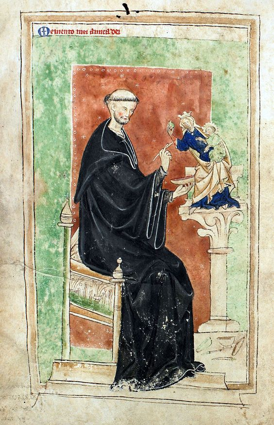 Benedictine monk painting an image of the Virgin and Child from the Lambeth Apocalypse [LPL MS 209 f.iiv.]