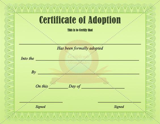 Adoption Certificate Template  Adoption Certificate Templates