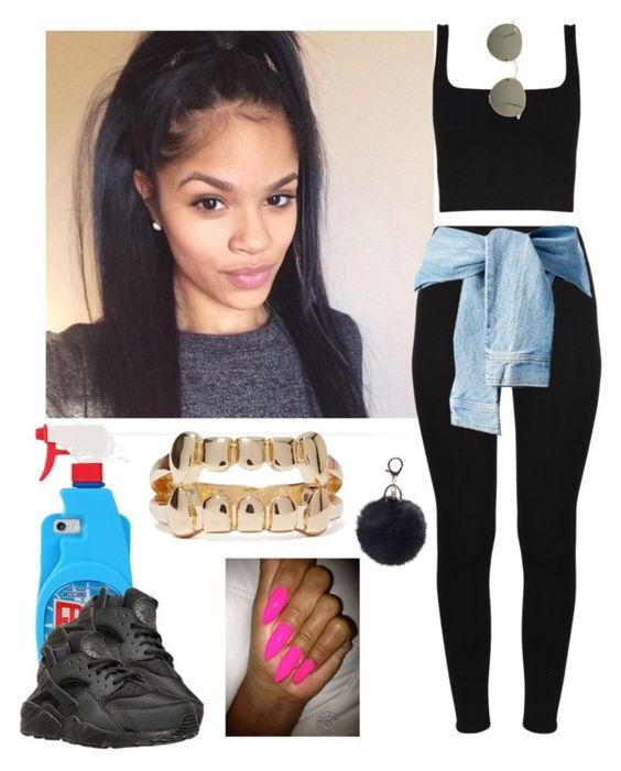 """✨"" by saucinonyou999 ❤ liked on Polyvore featuring Ray-Ban, Moschino and NIKE"
