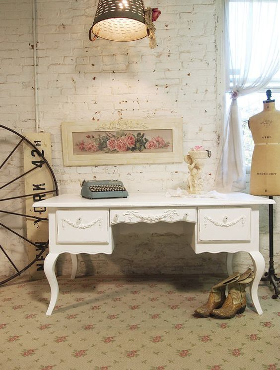 Painted Cottage Chic Shabby White French by paintedcottages, $595.00: