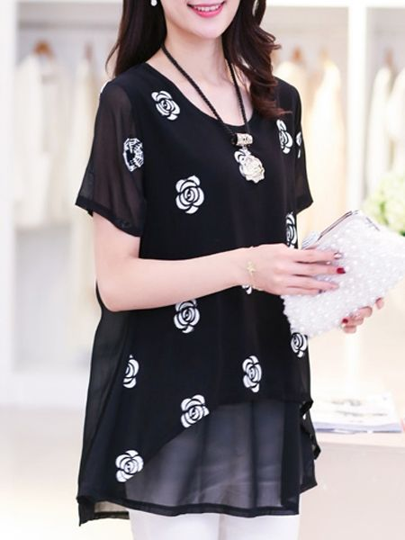 Chiffon Floral Printed Loose Short-sleeve-t-shirt