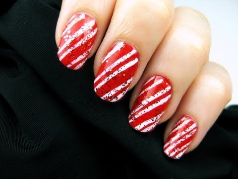 ▶ Easy Candy Cane Nail Art - YouTube