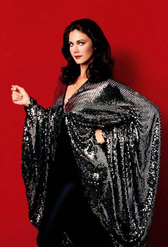 Lynda Carter in a sequined disco cape c. 1978.