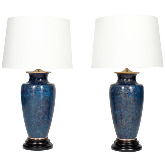 Pair of Vase Form Royal Blue Champleve Lamps | From a unique collection of antique and modern table lamps at https://www.1stdibs.com/furniture/lighting/table-lamps/