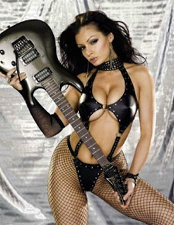 rock babe with guitar nude