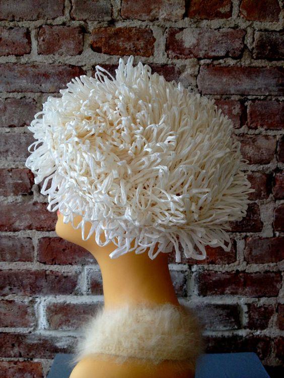 Vintage White Raffia Hat  1950s Straw Hat  Garden by 58petticoats, $40.00