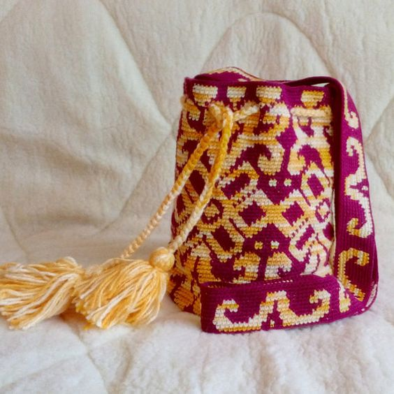 Crocheted Large  wayuu mochila bag wayuu tecnique tapestry crochet…