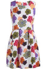 White Sleeveless Vintage Multicolor Floral Plaid Dress