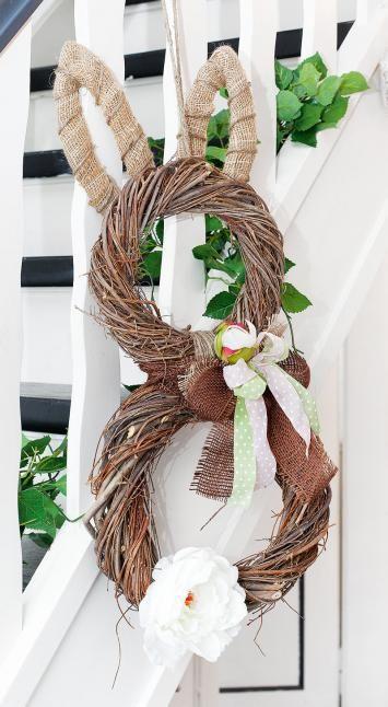 osterhasen kranz selber machen mit kostenloser anleitung ideen floristik f r ostern. Black Bedroom Furniture Sets. Home Design Ideas