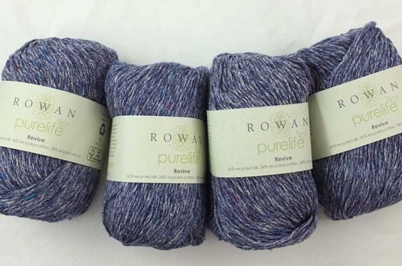 Revive in Flint, recyled silk, cotton yarn from Rowan, color 469