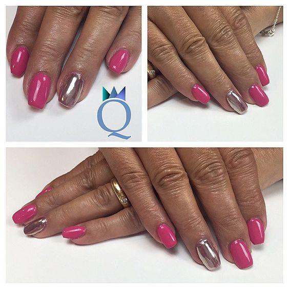shortnails coffinnails acrylicnails nails ballerina shape chrome over pink kurzen gel. Black Bedroom Furniture Sets. Home Design Ideas