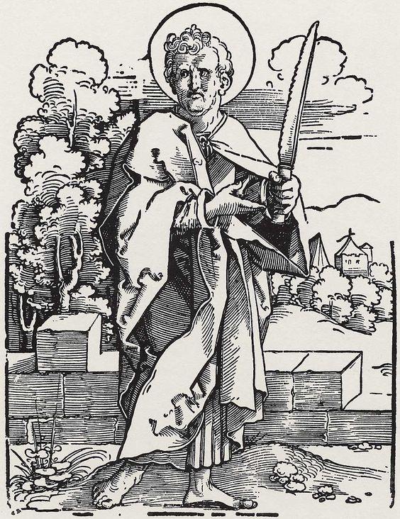 Beham, Hans Sebald: »Die Zwölf Apostel und Christus als Salvator mundi«, Hl. Simon c.1530