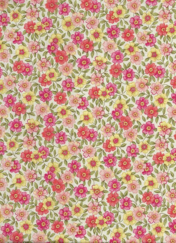 Half Yard Floral on Cream Calico Print from Heritage by MixFabrics, $3.00