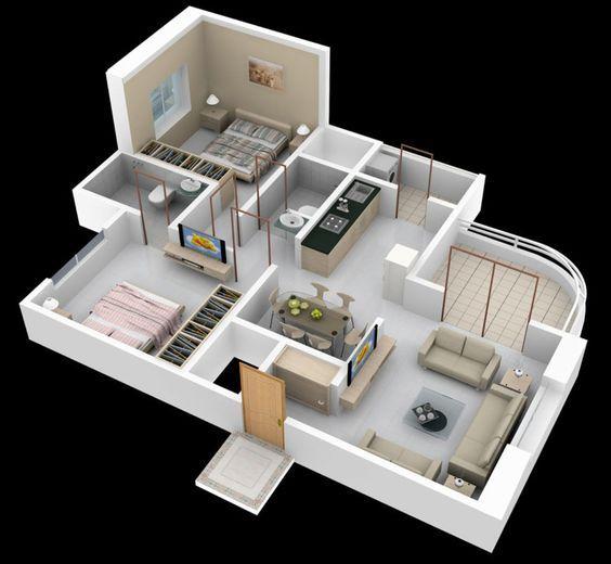 Best Flat Floor Plan Interior 2d 3d Aamiralvi839 Ide Apartemen Denah Rumah Denah Lantai Rumah