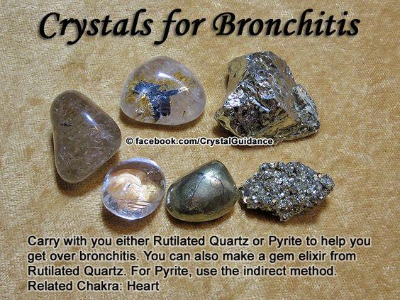 BRONQUITE - Recomendados: Quartzo Rutilado ou pirita. Recomendações adicionais: Pirolusite ou âmbar. Bronquite é associado ao chakra do coração.: