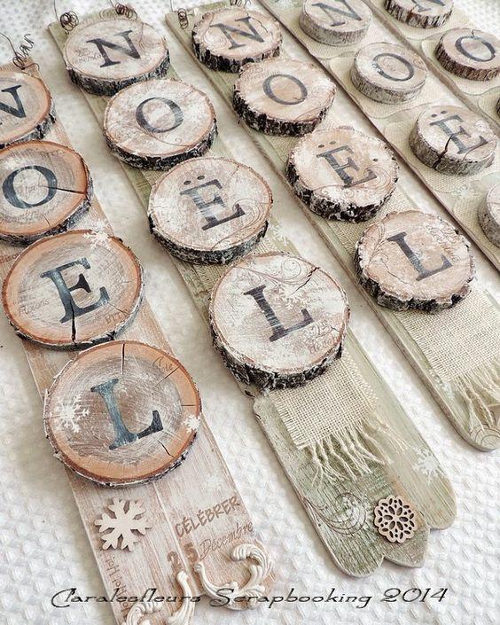 Claralesfleurs Scrapbooking 2014 - Plaques décoratives en bois naturel avec étampes Journal Cadre #2, Calendrier, Joyeux Noël #1 et #2 de Simple à Souhait...