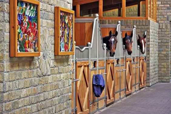 Very cool barn, neat ribbon display...cute horses!