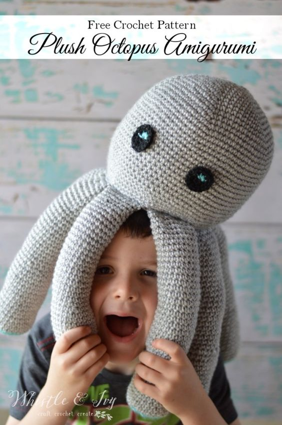 Free Crochet Pattern - Plush Crochet Octopus Amigurumi | Make this adorable and simple crochet octopus plush, the perfect sea friend for any child.: