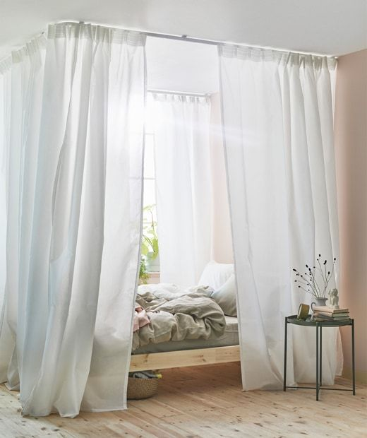 Want To Know How To Make A Canopy Bed Ikea Has All The Products You Need To Set Up This White Curtain A Canopy Bed Diy Curtains Around Bed Canopy Bed