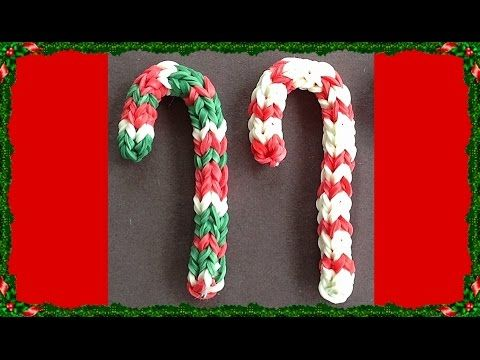 Rainbow Loom Charms Candy Cane Christmas made with loom bands - YouTube