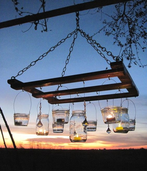 Simple: upcycle pallet + glass jars = outdoor chandelier. | The Micro Gardener: Wooden Pallet, Pallet Projects, Pallet Furniture, Pallet Chandelier, Pallet Ideas, Mason Jars, Recycled Pallet, Mason Jar Chandelier