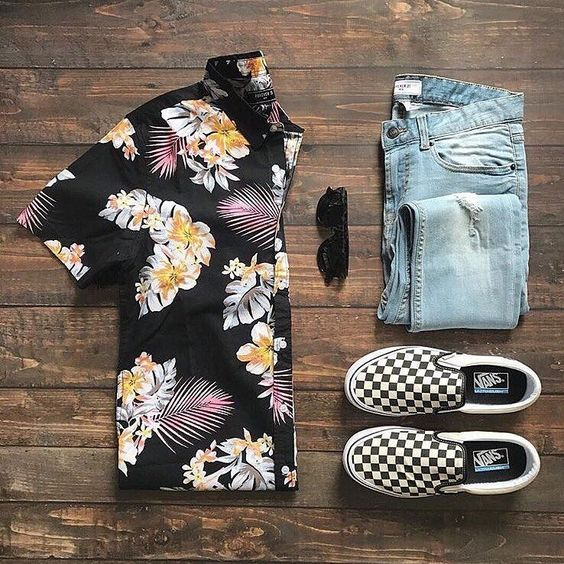 Summer style inspiration with a Hawaiian shirt from Forever 21 Sunglasses skinny light wash denim checkerboard vans slip on sneakers.  I'm all about the shirt!  #summerstyle #summeroutfits #vans #menswear #menstyle #hawaiianshirt #sunglasses #streetstyle #streetwear #flatlay  #blackandwhite