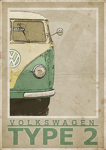 Camionnette Volkswagen Type 2 Split Screen / Bus - Style Vintage Poster