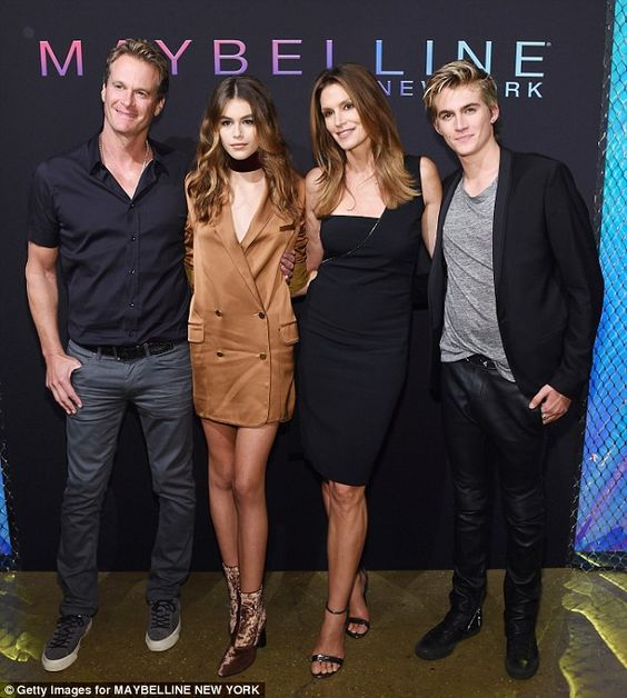 Pretty party:Perhaps the most genetically blessed group consisted of Cindy Crawford, husband Rande Gerber and their two children Kaia and Presley