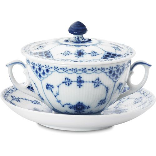Blue Fluted Half Lace Bouillon Cup & Sauc 35cl from Royal Copenhagen Classics - Shop at