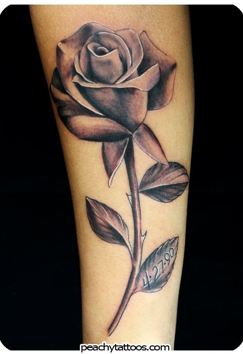 Tatouage Rose Noire Et Grise Avant Bras Femme TR7N3nc