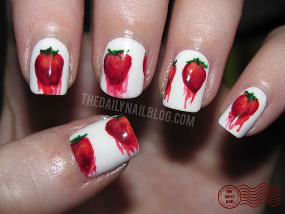 Strawberry nails by daily nail