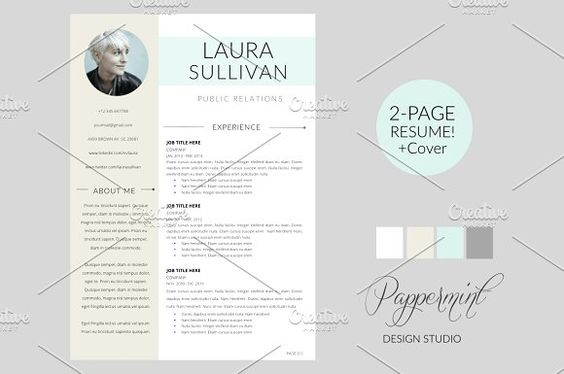 Resume Template + Cover Letter WORD by PAPPERMINT on - resume cover letter template word