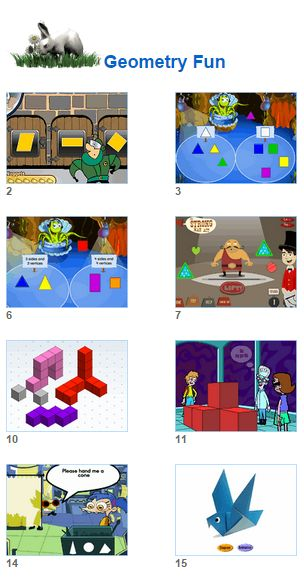 Math Geometry Fun - games puzzles for kids and their teachers from Johnnie's Math Page