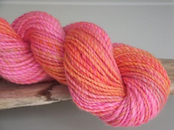 """Handgesponnen & -gefärbt - """"CINDERELLA"""" ….. handgef./ handgesponnene Wolle - ein Designerstück von Beatrice-Lampe bei DaWanda"""