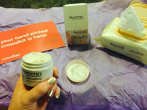 Aveeno's night time calming nourishing makeup removing wipes and night cream from crowdtap