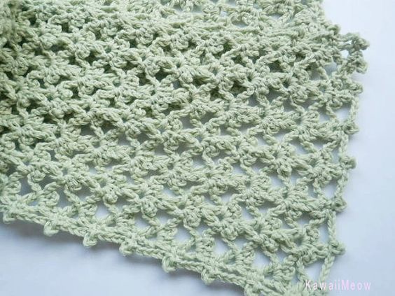 Cotton Stole Scarf Green by KawaiiMeow on Etsy