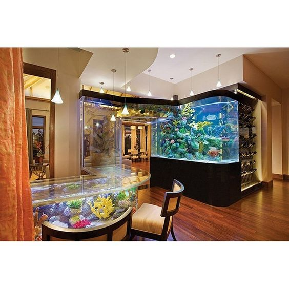 Perfect interior for fish lover! There are aquariums in the whole room, start from rack into the table. | Credit to: Frank McKinney | www.rumahku.com