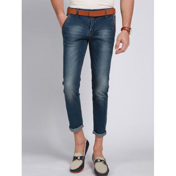 Casual Solid Color Zip Fly Men's Cropped Jeans