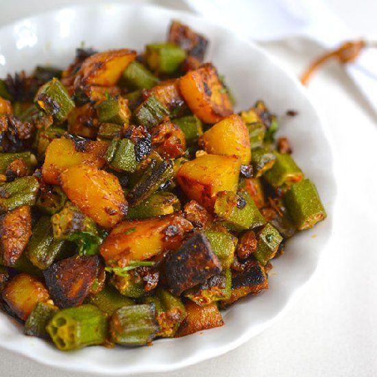 Aloo bhindi bhujiya (stir fry) or potato okra fry is simple dry curry ...