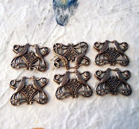 6 Antique Copper Art Nouveau Lovebird Connectors by Cathysjewels (Craft Supplies & Tools, Jewelry & Beading Supplies, Beads, cabochon, collage, findings, scrapbooking, vintage, embellishment, brass, stamping, lovebirds, connectors, copper, antique, metal)
