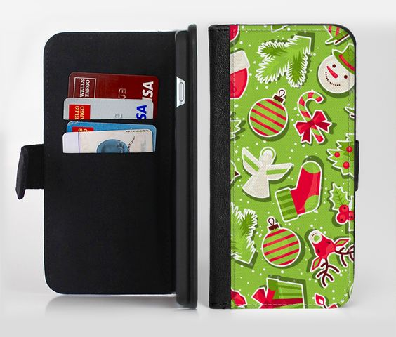 The Red and Green Christmas Icons Ink-Fuzed Leather Folding Wallet Credit-Card Case for the Apple iPhone 6/6s, 6/6s Plus, 5/5s and 5c from DesignSkinz