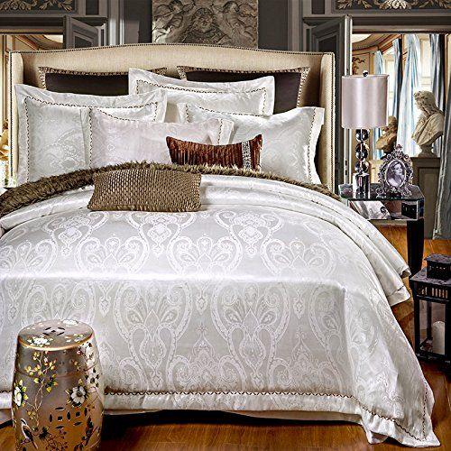 Lelva Luxury European Style Silk Floss Satin Jacquard Bedding Sets White Duvet Cover Sets 4pcs Full Queen Full 20 Duvet Satin