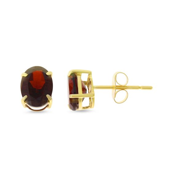 3.10ctw 6 x 8 mm. Oval Shaped Genuine Natural Garnet Earrings 14kt Yellow Gold