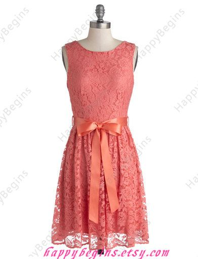 Short V back Coral Lace Bridesmaid Dress Junior by HappyBegins ...