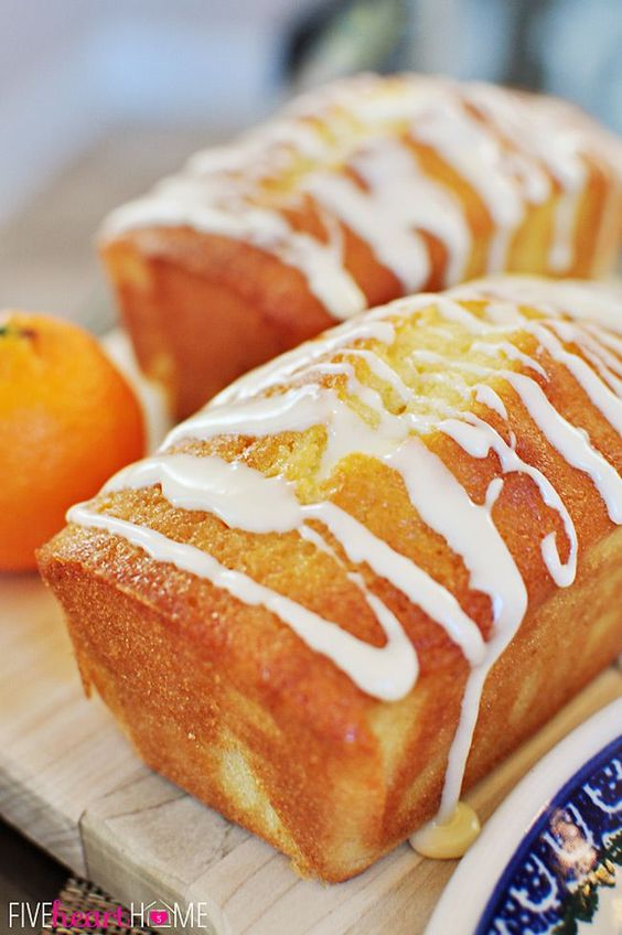 Orange Pound Cake Mini Loaves ~ moist, buttery, and bursting with sunny citrus flavor!   FiveHeartHome.com