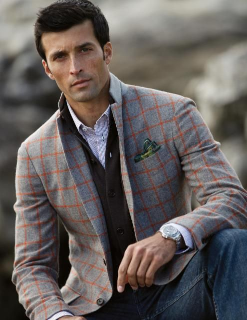 Charcoal with Orange Windowpane Sport Coat Made in Italy. White