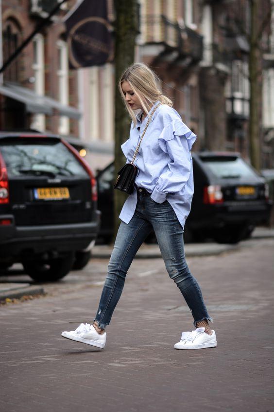 Blue oversize shirt, Puma heart patent: