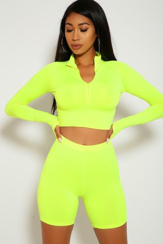 Neon long sleeve shorts set
